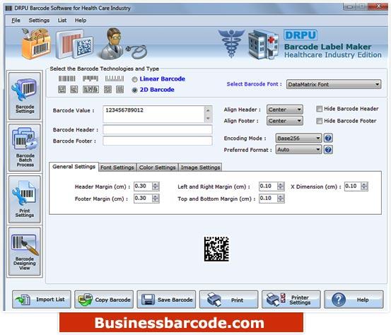 Healthcare Barcode Labeling Tool screenshot